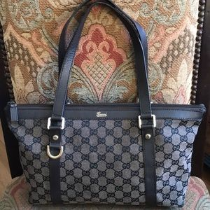 Authentic Gucci GG brown canvas / leather tote
